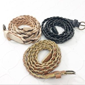 Accessories - Lot of 3 leather braided thin belts Small/Med BoHo